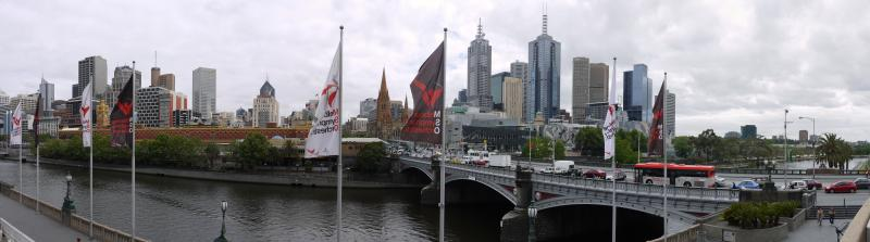 Melbourne's skyline and Federation Square