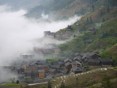 Clouds on the slopes of Ping'an