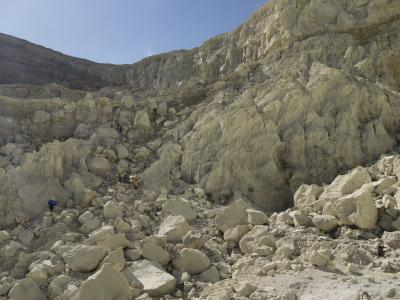 Sulphur mine in the Merapi volcano crater on the Ijen Plateau