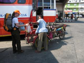 Motorcycle cab to the Phitsanulok 	bus station