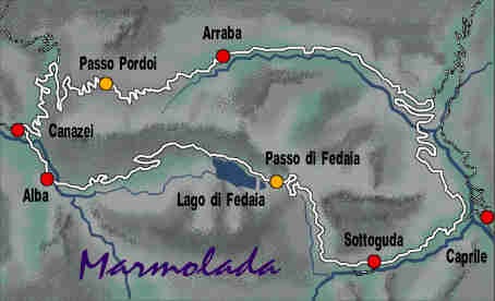 detail map of Mt. Marmolada