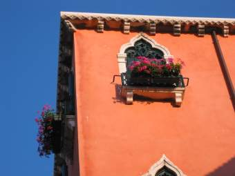 wall with window and flowers in venice