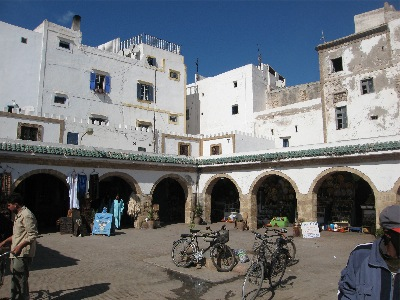 White-washed buildings in Essaouira's souq