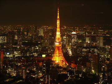 City panorama at night, with Tokyo Tower