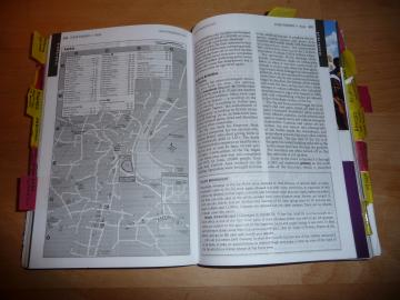 Lonely Planet guide book with tabs